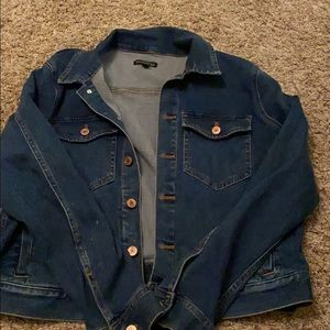 J Crew cropped oversized denim jacket